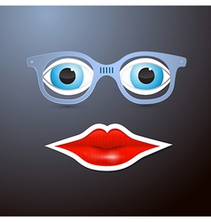 Abstract Mouth Glasses and Eyes vector image vector image