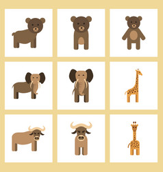 Assembly flat icons nature giraffe bull bear vector