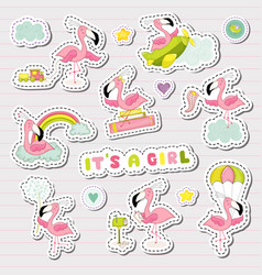 Baby girl stickers set for baby shower party vector