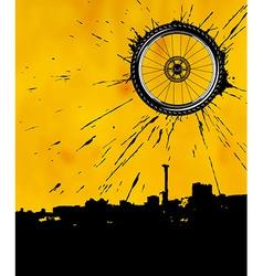 Bike wheel as the sun vector image