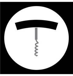 black and gray wine corkscrew simple icon eps10 vector image