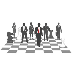 Business people chess team win game vector