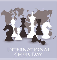 Chess background international chess day card vector