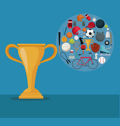 Color background with golden cup trophy and icons vector