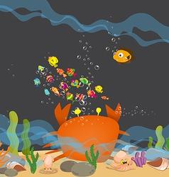 Crab big is under a sea water vector