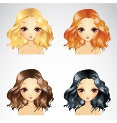 Curly fluffy hairstyle set vector