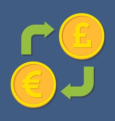 Currency exchange euro and pound sterling vector