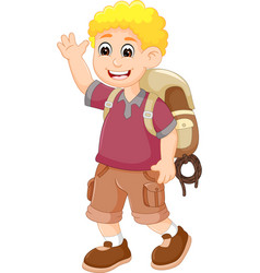 cute backpacker cartoon posing with laughing vector image vector image