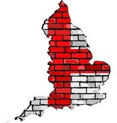 England map on a brick wall vector