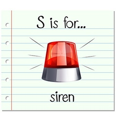 Flashcard letter s is for siren vector