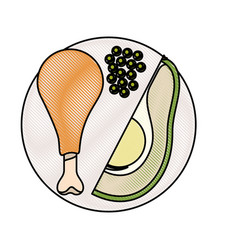 Food plate chicken thigh with peas and avocado vector