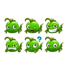 Funny cartoon green fish vector
