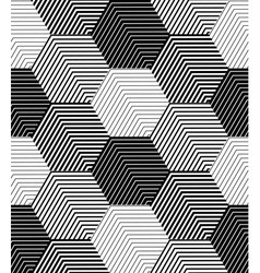 Geometric Tiles with Striped Hexagons Seamless vector image
