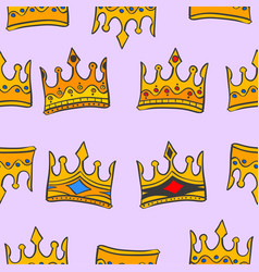 Gold crown glamour pattern art vector