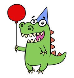 Happy birthday greeting dragon vector