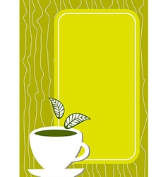 Lemon tea menu cover with cup and leaves vector