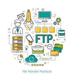 Line Art Concept of FTP vector image