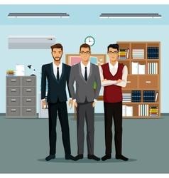 Men teamwork place furniture books cabinet file vector