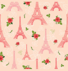 Pink red eifel tower paris and roses vector