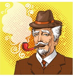 Pop art of elderly man smoking vector