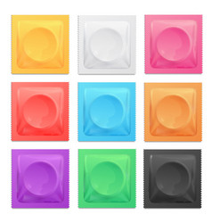 realistic 3d detailed color condoms package set vector image vector image