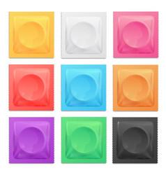 realistic 3d detailed color condoms package set vector image