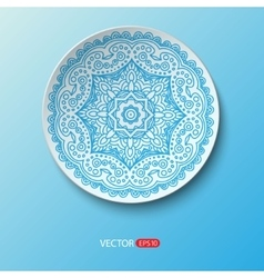 Realistic plate with floral round ornament lace vector image vector image
