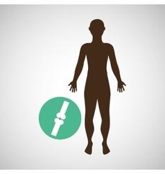 silhouette man with bones body icon vector image vector image