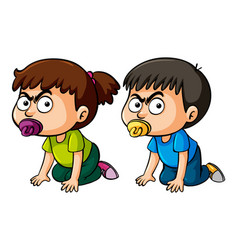 two angry toddlers with pacifiers vector image