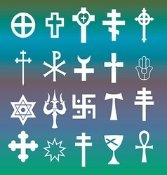 various religious symbols vector image
