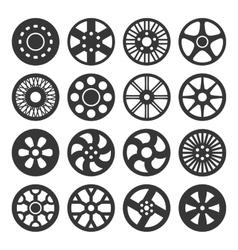 Wheel Disks or Rims Icon Set vector image vector image