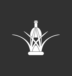 White icon on black background bottle in grass vector