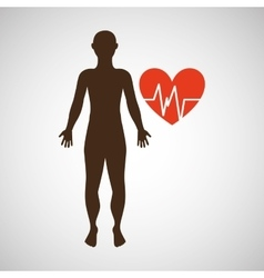 Silhouette man heart pulse anatomy body vector