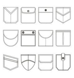pocket thin line black icon set vector image