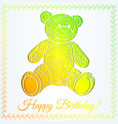 Happy birthday card with bear gradient vector