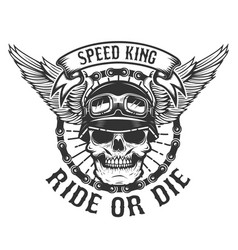 Racer skull with wings biker power ride or die vector