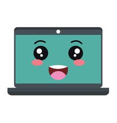 Computer laptop kawaii character vector