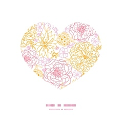 Flowers outlined heart silhouette pattern vector