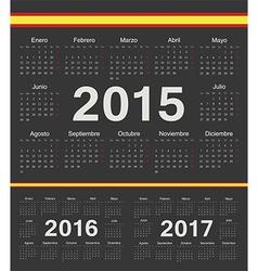Black Spanish circle calendars 2015 2016 2017 vector image