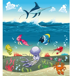 Under the sea with fish and other animals vector