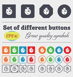 Timer stopwatch icon sign big set of colorful vector