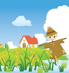 Cartoons village scarecrow vector