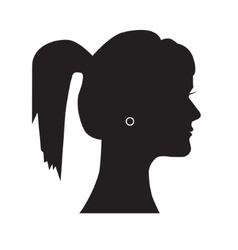 Female silhouette head with hair combed back vector