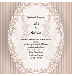 Wedding card with oval elegan design vector