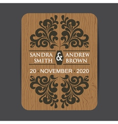 Wooden wedding invitation3 vector