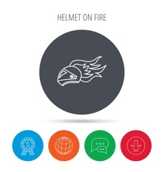 Helmet on fire icon motorcycle sport sign vector