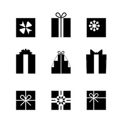 Silhouettes of gift boxes isolated vector