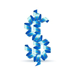 Us dollar sign made of spiral ribbon vector