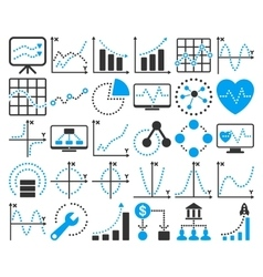 Business charts with circle dots icons vector