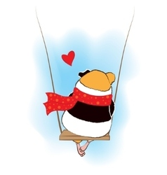 Guinea pig sad on the swings vector